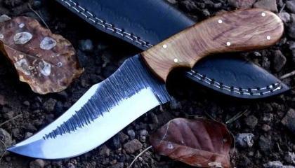Handmade 1095 Steel Hunting Knife with Wood Handle
