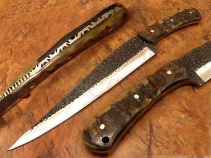 Hammered Carbon Steel Bowie Hunting Knife